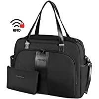 "KROSER Laptop Tote Bag 15.6"" Stylish Shoulder Bag Water-Repellent Large Travel Bag with RFID Pockets for Work/Business/School/College/Women-Black"