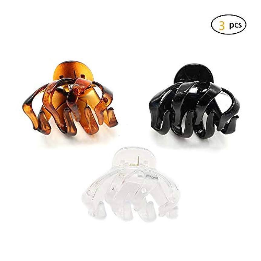 サポート燃やす成功したDofash 3個入り 強いホールド滑り止めヘア爪クリップ 厚い髪でもオフィス 大 小 大きめ 小さめ ヘアクリップ プラスチック 6.5cm ヘアアクセサリー カートリッジボックス 女の子のため (透明+べっ甲+ゴルード)
