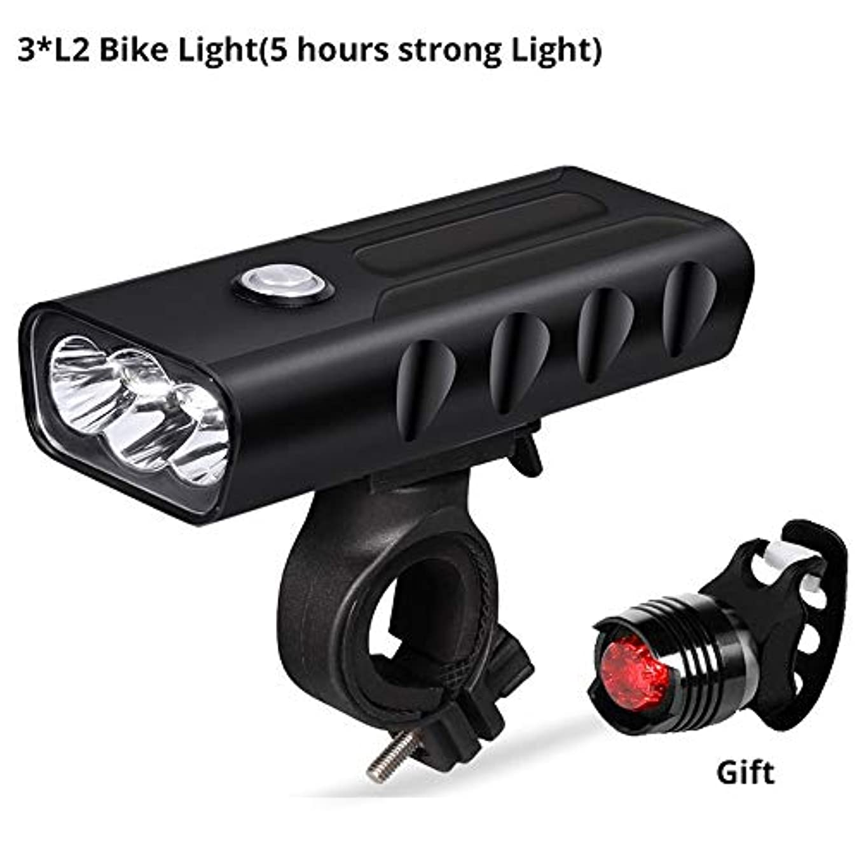 床いわゆる直立USB充電式自転車ライト バイクライトフロント/バック、USB充電式スーパーブライト800ルーメン3 LEDマウンテン/ロードバイクヘッドライトランプ無料テールライトセット、サイクリング用セーフティ懐中電灯、簡単取り付け (Color : T6-5 hour)
