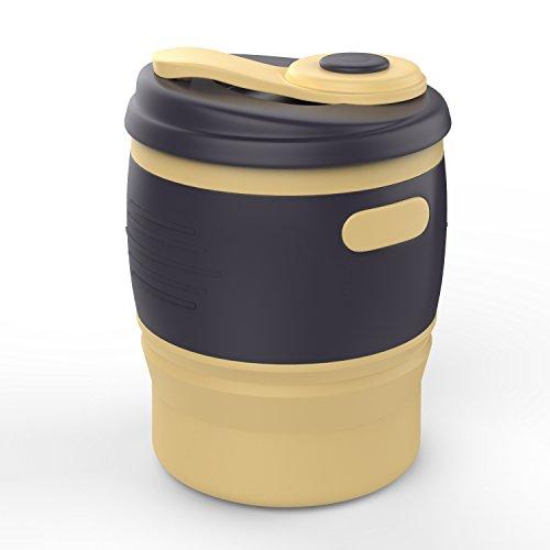 折りたたみコーヒーコップ - ATiC シリコン製 耐冷耐熱 軽量 折りたたみコーヒーカップ (350ml) 土色