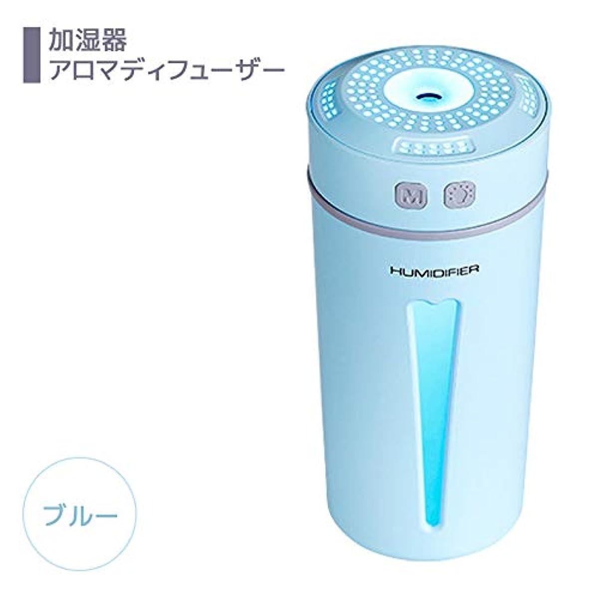 ライオン必要構成NiceMay 加湿器 卓上 アロマディフューザー 超音波 ナノミスト 超静音 モード切替 LED 車載 コンパクト USB 除菌 乾燥防止 部屋 ブルー