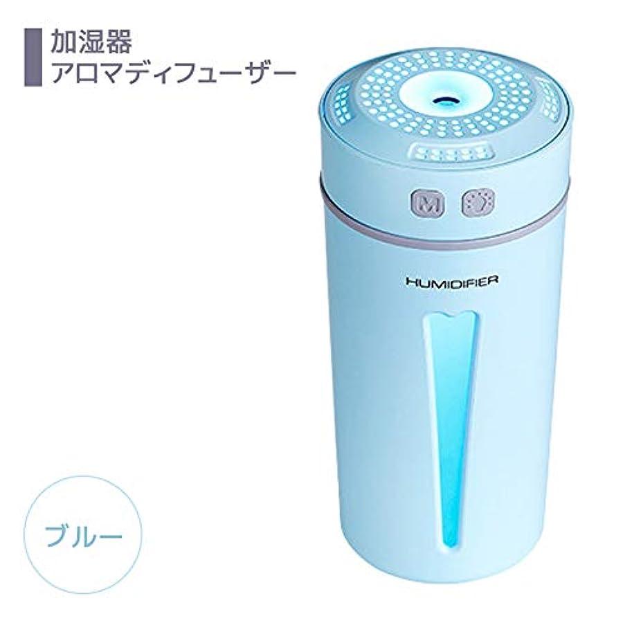 風刺パワーセル楽しませるNiceMay 加湿器 卓上 アロマディフューザー 超音波 ナノミスト 超静音 モード切替 LED 車載 コンパクト USB 除菌 乾燥防止 部屋 ブルー