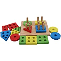 LALANG 幾何学形状 分類ボード 木製 教育玩具 子供 早期認知パズル おもちゃ