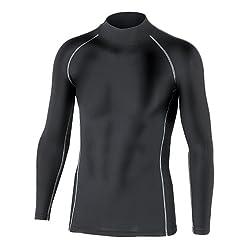 おたふく手袋 ボディータフネス 保温 コンプレッション パワーストレッチ 長袖 ハイネックシャツ JW-170 ブラック L 5枚1セット