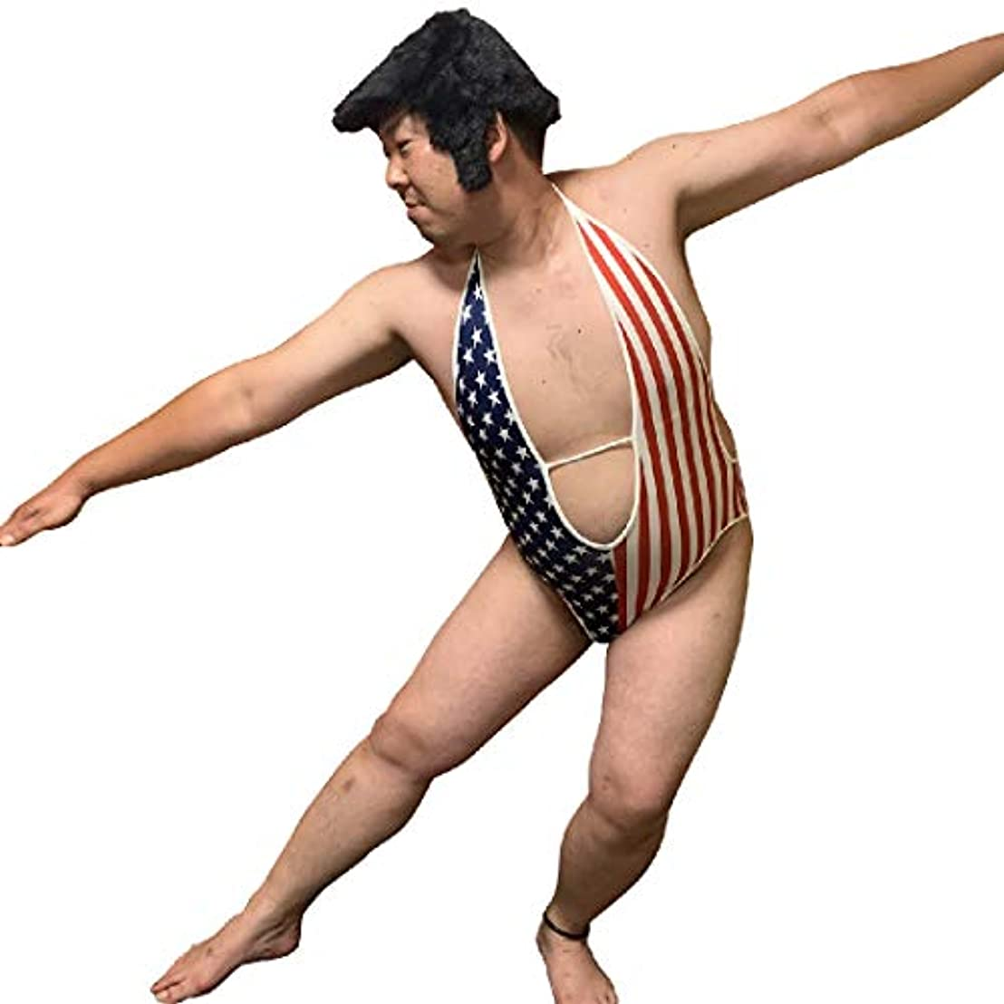 もう一度僕の再撮りsac taske アメリカ国旗 水着 星条旗 V字 レオタード ハロウィン 衣装 コスチューム (L)