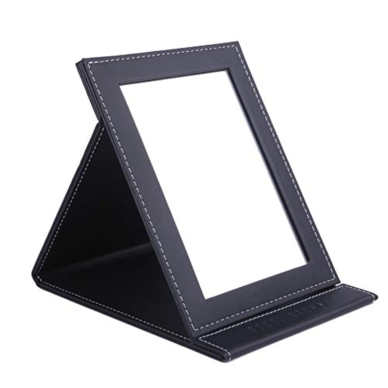 右でる透過性[スプレンノ] 折立ミラー 卓上ミラー 折り畳みミラー 折りたたみ式 化粧鏡 レザー仕上げ (L)
