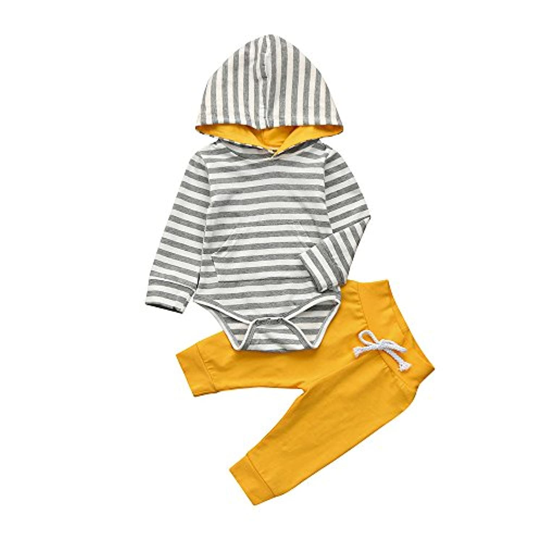 (プタス)Putars ベビー服 子供服 上下セット ロンパース 男の子 パーカー ボーダー柄 黄色い 春 夏 新生児 歩行服 出産お祝い 記念日 プレゼント 0-24ヶ月