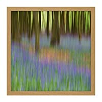 Colin Bluebells Beech Trees Impressionist Square Wooden Framed Wall Art Print Picture 16X16 Inch 青木木材壁画像