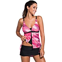 Dearlovers Women Summer Colorblock and Print Tankini No Steel Support Top and Bottom Set Two Pieces Swimsuit
