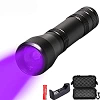 8000Lm UV懐中電灯L2 / T6白色光懐中電灯UVトーチ395Nmウルトラバイオレットライトブラックライトズーム可能な懐中電灯18650、パッケージF、白色光T6-4000L
