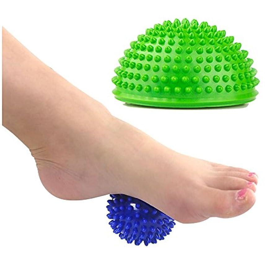 直径無条件石鹸フットローラーマッサージボール - PLA用リラックスフットバックレッグハンドタイトマッスル - オフィスエッセンシャルツール(1ローラーと1ハーフボール、ランダムカラー)