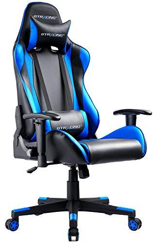 GTRACING ゲーミングチェア オフィスチェア デスクチェア ゲーム用チェア リクライニング パソコンチェア ハイバック ヘッドレスト 腰痛対策 ランバーサポート ひじ掛け付き 高さ調整機能 PUレザー ブルー (GT002)