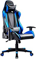 GTRACING ゲーミングチェア オフィスチェア デスクチェア ゲーム用チェア リクライニング パソコンチェア ハイバック ヘッドレスト 腰痛対策 ランバーサポート ひじ掛け付き 高さ調整機能 PUレザー ブルー (GT099)