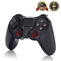 PS4 無線コントローラー PS4 Pro/Slim PC対応 HD振動 連射 ゲームパッド ゲームコントローラー USB イヤホンジャック スピーカー内蔵 6軸センサー 高耐久ボタン ブラック 連射機能 ワイヤレス載 Bluetooth 無線接続