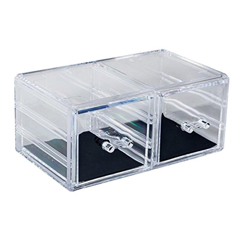 間物理優先アクリルケース 収納ケース 深型引き出し×2 コスメボックス Mサイズ 小物 化粧品 展示_87250