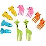 iTimo 10 Pcs/Pack Mini Cartoon Cute Animal Farm Fruit Fork Snack Cake Dessert Food Fork Bento Lunches Toothpick for Children,Random Color(A Type)