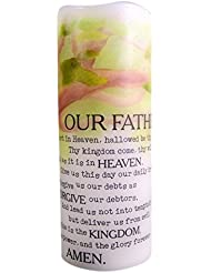 The Lord's Prayer Flamless Flicker Vanilla Scented Wax Candle with LED Light, 20cm
