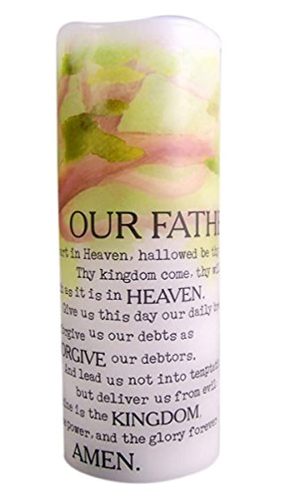 敵育成速記The Lord's Prayer Flamless Flicker Vanilla Scented Wax Candle with LED Light, 20cm