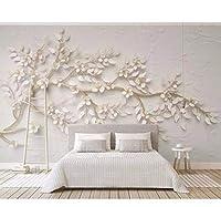 Lcymt 写真の壁紙の壁画立体的な白い花の3D部屋の壁紙現代のファッションの女の子の部屋のリビングルームの寝室の壁の壁画-250X175Cm