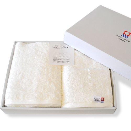 ブルーム 今治タオル認定 レオン バスタオル 2枚セット サンホーキン綿使用 厚手 高級タオル ホテル仕様 タオル ギフトセット 箱入り 日本製 (ホワイト)
