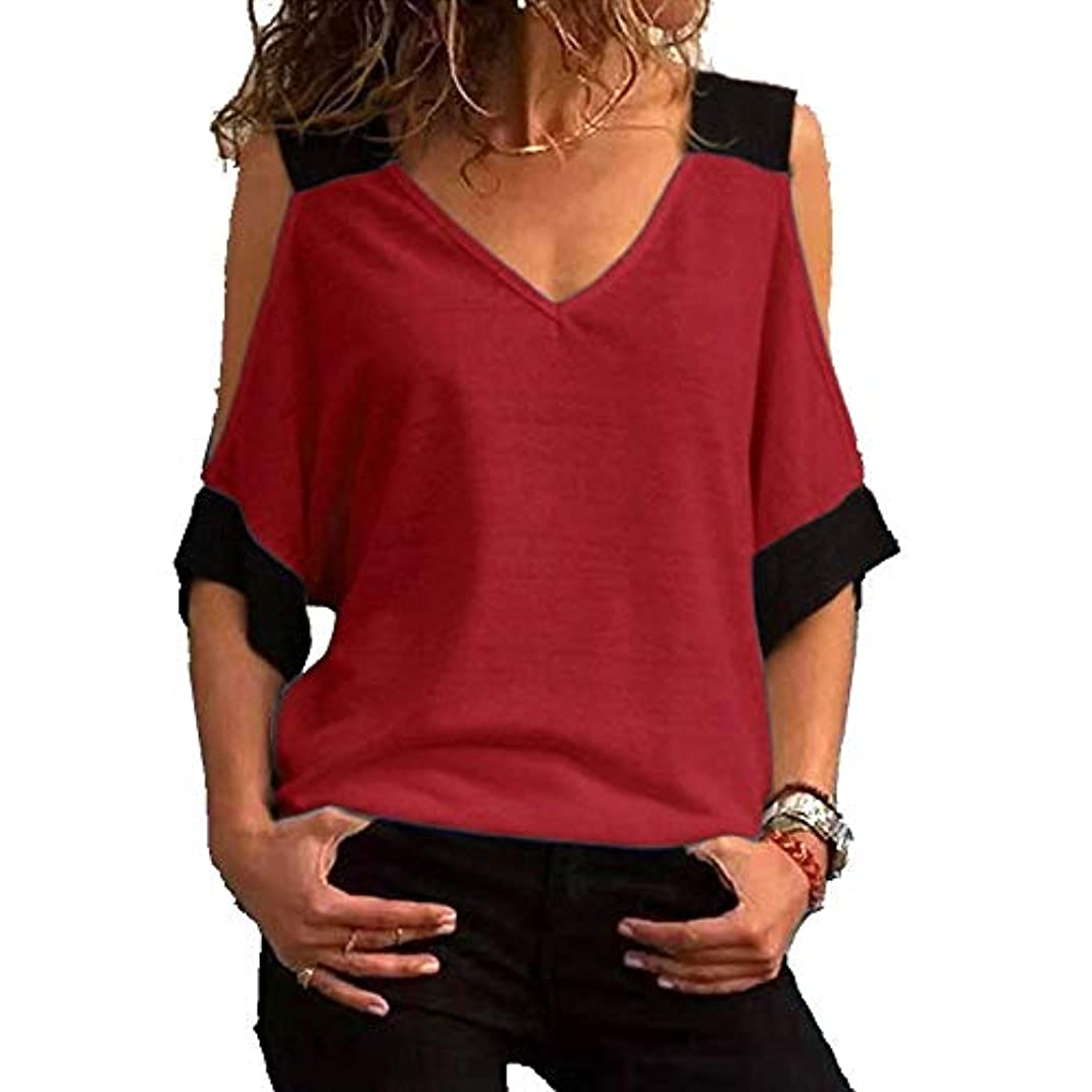 貸すアナニバーボックスMIFAN女性ファッションカジュアルトップス女性ショルダーブラウスコットンTシャツディープVネック半袖