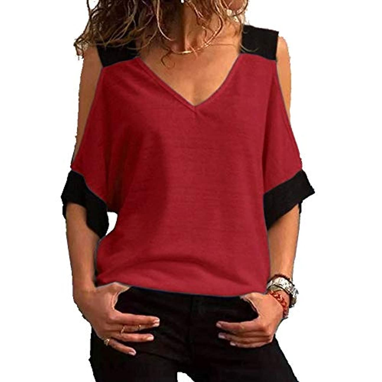 葡萄裕福なセマフォMIFAN女性ファッションカジュアルトップス女性ショルダーブラウスコットンTシャツディープVネック半袖