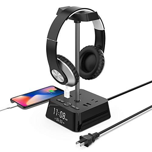 J & L 電源タップ USBコンセント「一台五役」2個口 4USBポート ヘッドホンスタンド デジタル時計と電気スタンド機能搭載 雷ガード 一括スイッチ 延長コード1.5m 日本語取扱説明書付き メーカー1年保証