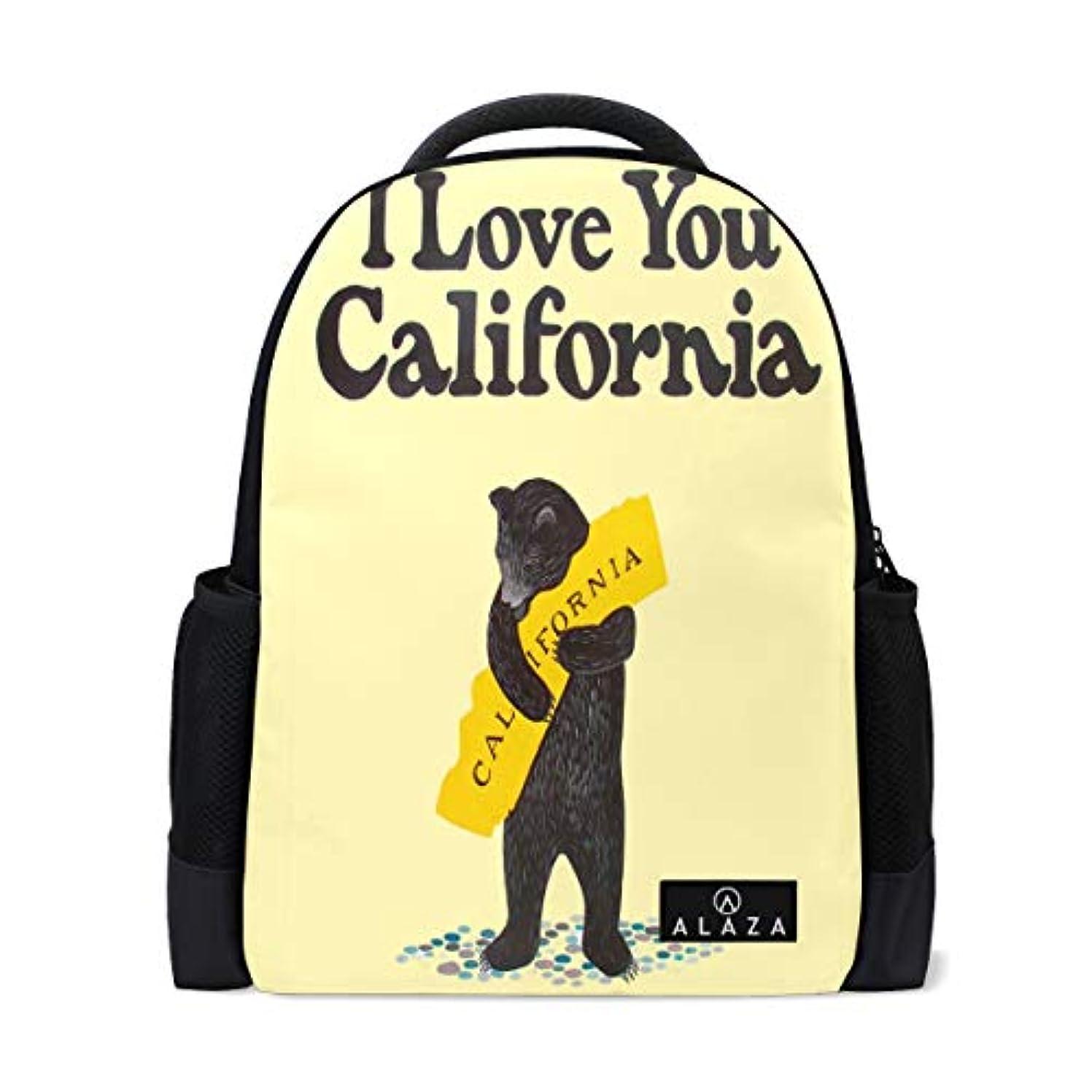 明らかにいつかうねるI Love California くま リュックバック 大容量 防水 アウトドア 登山 旅行 通学 可愛い ファッション バックパック 防水 軽量 多機能 男女通用 遠足 通学 旅行 人気