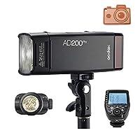 Godox AD200ProストロボフラッシュおよびXpro-Cフラッシュトリガー;裸電球ヘッドおよびスピードライトフラッシュヘッド;フルパワーフラッシュ500回を提供;大容量のリチウム電池 (AD200pro+Xpro-C);Canonカメラに対応