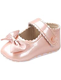 Bobora幼児用ベビーガールズリボン付き滑り止めソフトソールプリンセスベビーベッド靴