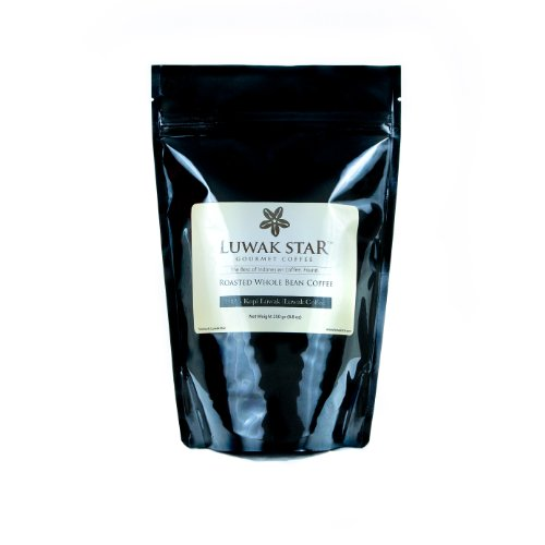 ルアック・スター グルメコーヒー、  インドネシア産 アラビカ・スマトラ・ガヨ・ルワク・コーヒー豆 (コピ・ルアック) 100%、 ミディアムロースト(米国にて焙煎)、250g