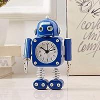HYLH 目覚まし時計学生の目覚まし時計付きナイトライトクォーツ目覚まし時計ミニ目覚まし時計漫画の目覚まし時計クリエイティブ目覚まし時計ロボット目覚まし時計(ブルー4)