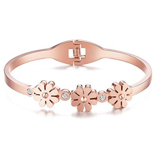 [해외]SHEGRACE 간단한 티타늄 스틸 지르콘 데이지 꽃 모양의 꽃 핑크 골드 팔찌 팔찌/SHEGRACE Simple titanium steel zircon daisy flower type flower pink gold bracelet bangle