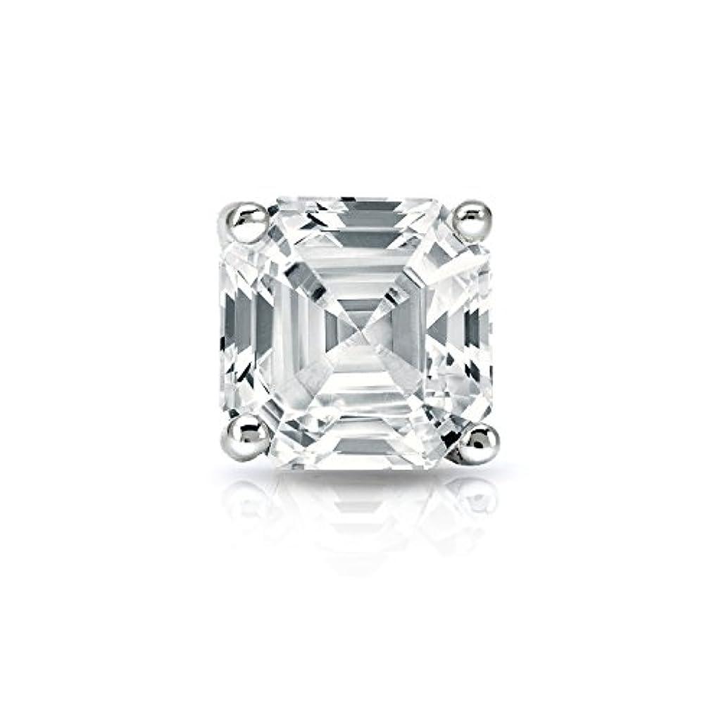 炭素熟練した満足できるプラチナ4プロングMartini Asscherダイヤモンドメンズシングルスタッドイヤリング( 1 / 4 – 1 CT、ホワイト、si2 ) screw-back