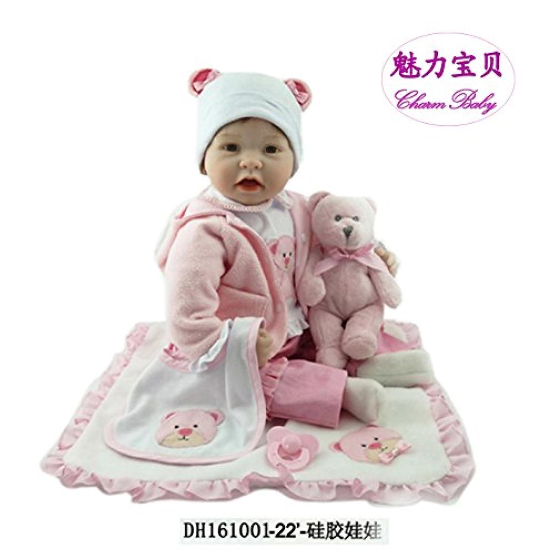 チャームベビー22インチ/ 55 cmソフトシリコンビニールHead &手足、ソフトボディピンクReborn Baby Girl Realistic Looking新生児人形with aピンクCute Bear
