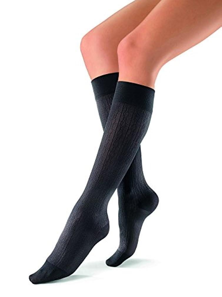 ブルゴーニュ重量寸前Jobst soSoft Women Brocade Knee Highs 30-40mmHg, L, Black by Jobst