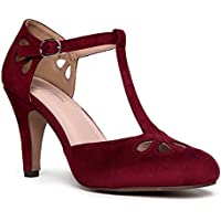 J. Adams Mary Jane Pumps - Vintage Tear Drop Cutout Low Kitten Heels - Retro Round Toe Adjustable Ankle T Strap - Pepper by