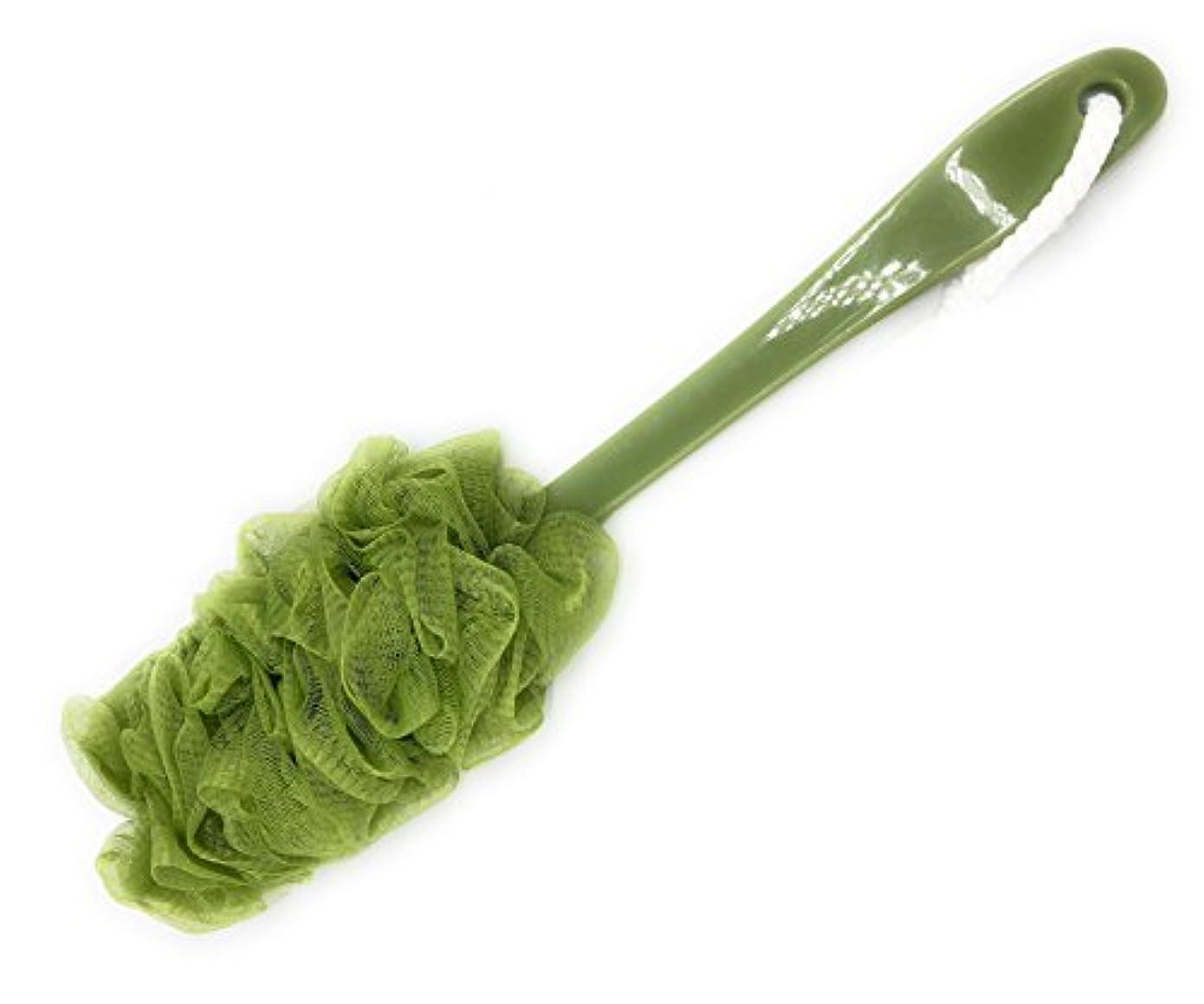 誰の熱意調和Maltose ボディブラシ ロング 長柄 柔らかい 背中ブラシ 体洗いブラシ スポンジ 濃密泡ブラシ 4色 (緑)