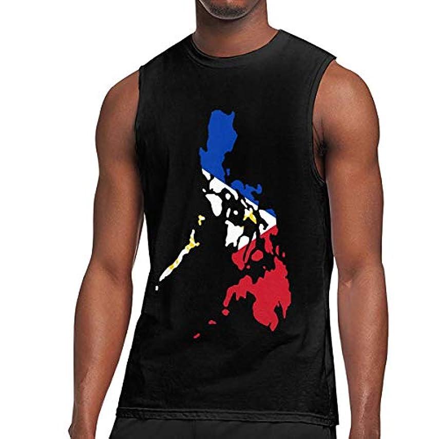 心からサーバ軸メンズフィリピンの国旗地図 タンクトップ, 純綿の ルーズフィット タンクシャツ 対すメンズ, M-3XL