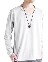 (モノマート) MONO-MART ツインロール Uネック カットソー L/S 長袖 ゆる 着心地 MODE Tシャツ メンズ