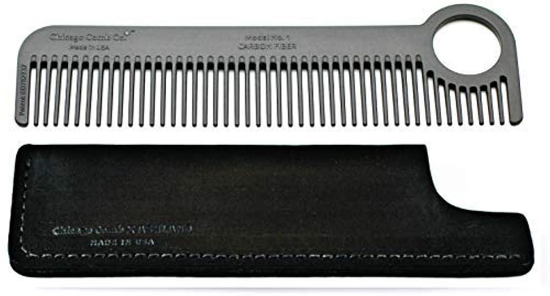 眠いですウィスキー犯すChicago Comb Model 1 Carbon Fiber Comb + Dublin Black Horween leather sheath, Made in USA, ultimate pocket and...