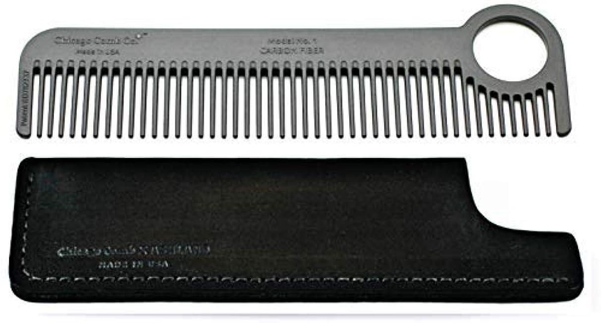 無謀落とし穴不誠実Chicago Comb Model 1 Carbon Fiber Comb + Dublin Black Horween leather sheath, Made in USA, ultimate pocket and...