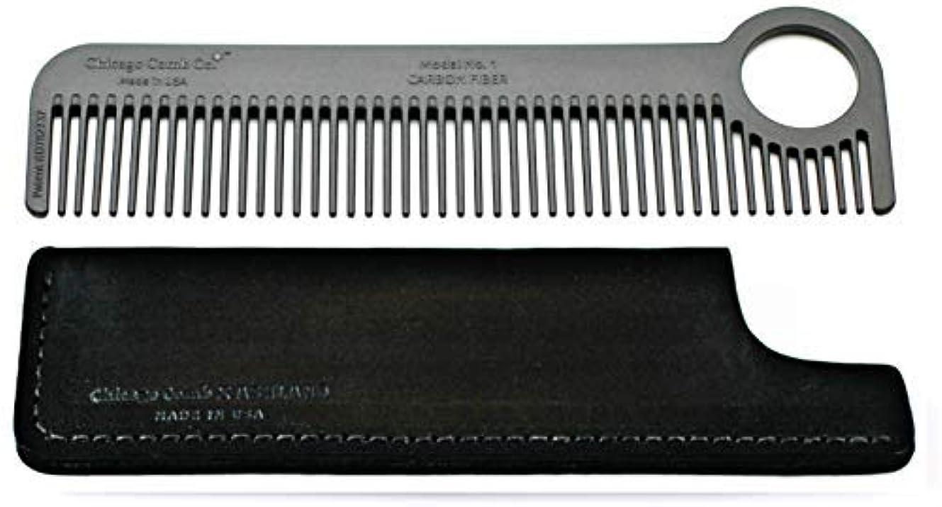詳細なコンチネンタル隣接Chicago Comb Model 1 Carbon Fiber Comb + Dublin Black Horween leather sheath, Made in USA, ultimate pocket and...