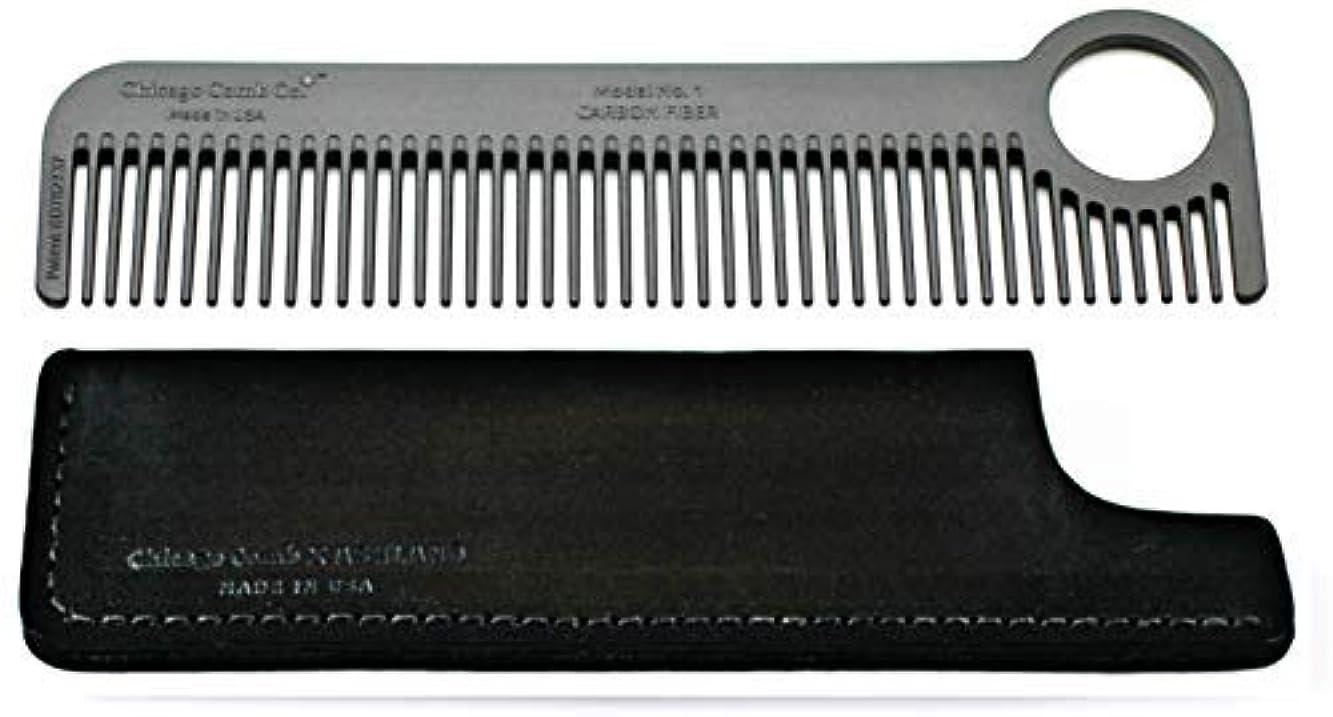 高音悲劇肩をすくめるChicago Comb Model 1 Carbon Fiber Comb + Dublin Black Horween leather sheath, Made in USA, ultimate pocket and...