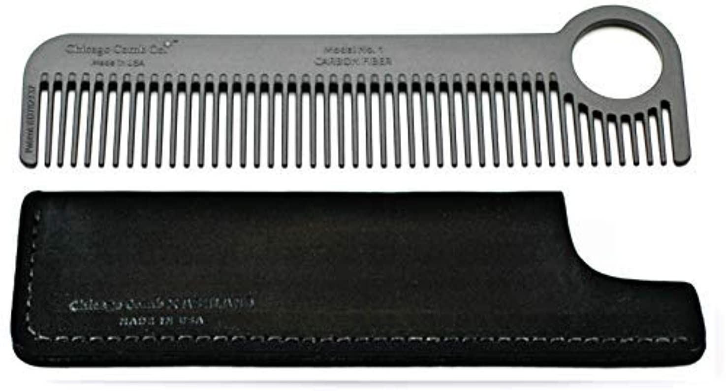 Chicago Comb Model 1 Carbon Fiber Comb + Dublin Black Horween leather sheath, Made in USA, ultimate pocket and...