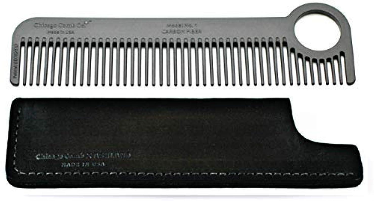 交換可能あまりにも膜Chicago Comb Model 1 Carbon Fiber Comb + Dublin Black Horween leather sheath, Made in USA, ultimate pocket and...