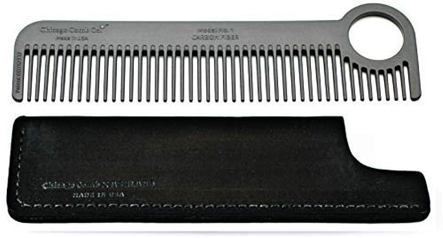 保護する合計請うChicago Comb Model 1 Carbon Fiber Comb + Dublin Black Horween leather sheath, Made in USA, ultimate pocket and...
