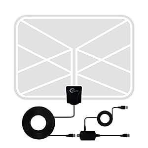 進化版 HD テレビ 室内 アンテナ Tasaisk 卓上 TV アンテナ 地デジペーパーアンテナ UHF VHF対応 96KM受信範囲 USB式 ブースター付き 避雷 簡単設置