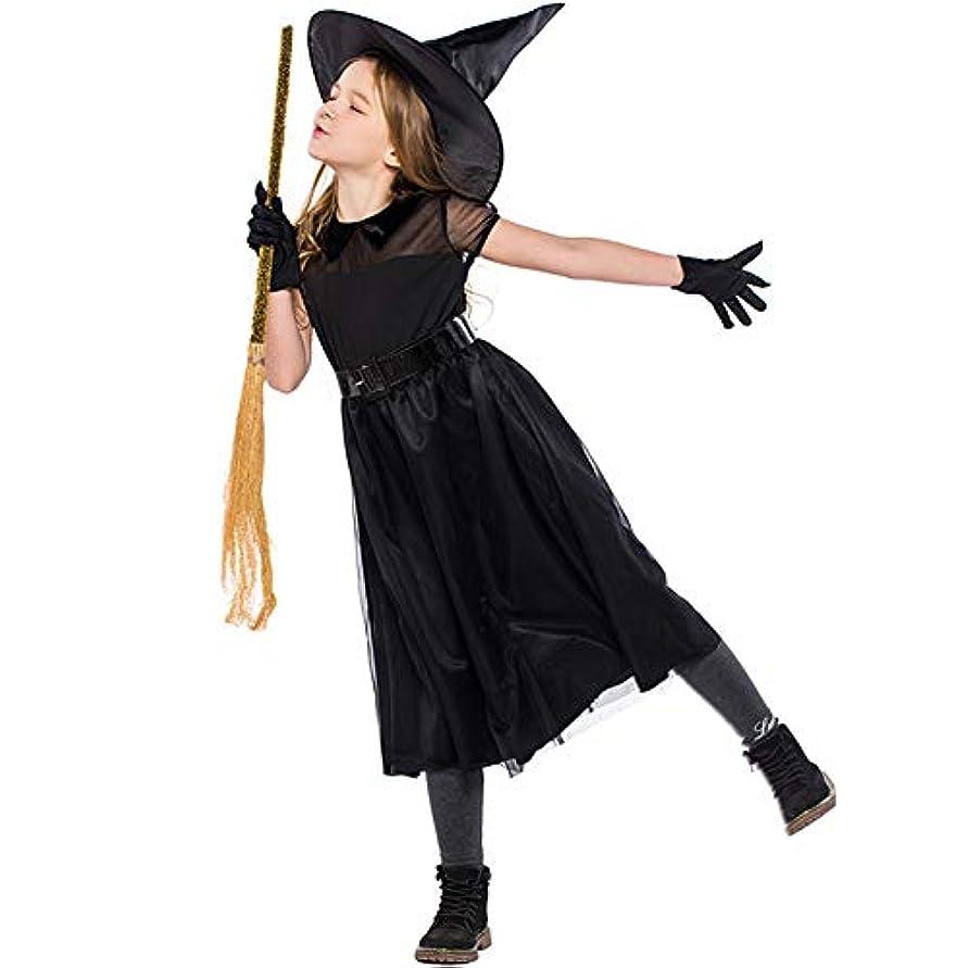 スプリットペインティングどこでもEmfay ハロウィン コスプレ 衣装 仮装 子供 女の子 魔女 セット 魔法使い ブラック コスチューム 帽子付き L
