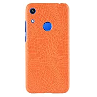 "Honor 8A Pro ケース,CHENXI クロコダイル風ケース アニマル柄 軽量 薄型ケース ハード ケース PC保護カバー ために Huawei Honor 8A Pro 6.09"" -オレンジ色"